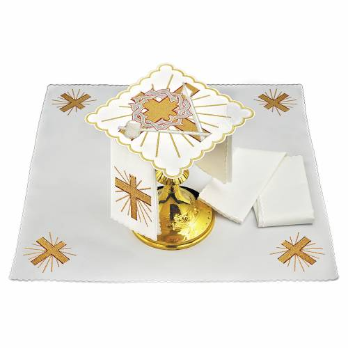 Linge autel lin croix lance couronne d'épines s1