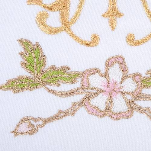 Linge d'autel 4 pcs symbole Marial et fleus s3