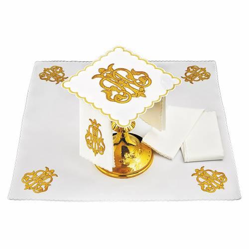 Linge pour autel lin symbole IHS or foncé brodé s1