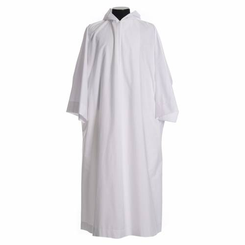 Liturgical alb with hood in cotton & polyester s1