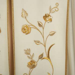 Liturgical cope with gold IHS symbol and roses embroideries s2