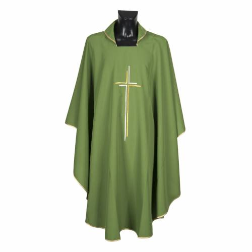 Liturgical vestment in polyester with stylized double cross s4