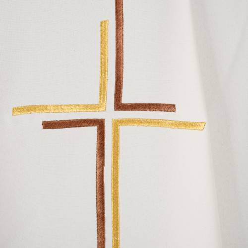 Liturgical vestment in polyester with stylized double cross s10