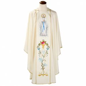 Chasubles: Liturgical vestment in wool with Marian symbol and Virgin Mary