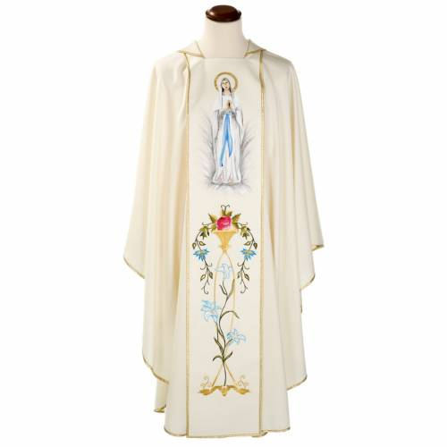 Liturgical vestment in wool with Marian symbol and Virgin Mary s1