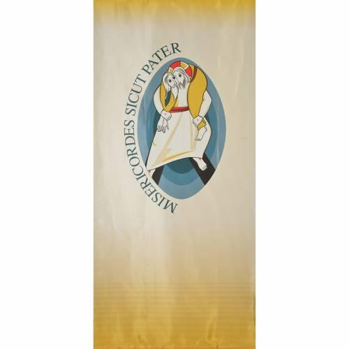 STOCK Logo Giubileo Misericordia LATINO su tessuto 135x300 cm stampa s1