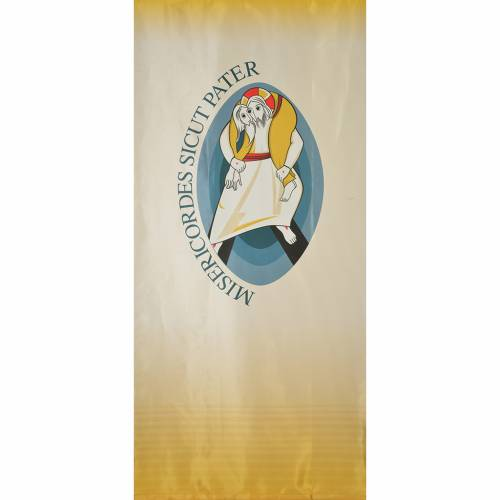 STOCK Logo Jubilee of Mercy LATIN printed on fabric 135x300cm s1