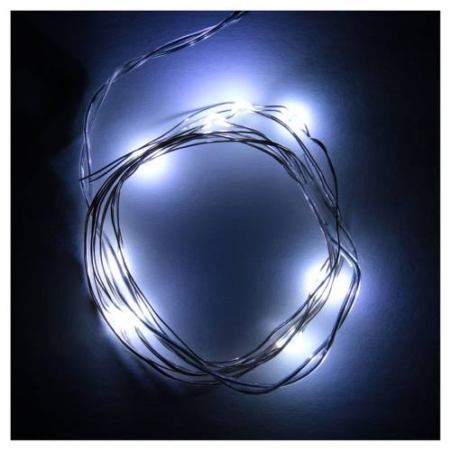 Luces de Navidad 10 LED tipo gota color blanco frío con baterías s2