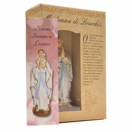 Madonna di Lourdes 12 cm con immaginetta PREGHIERA ITALIANO s3