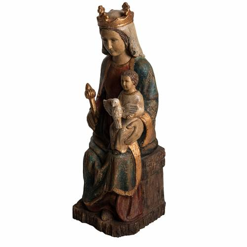 Madonna of Rosay statue in painted wood, antique finishing 63 cm s3