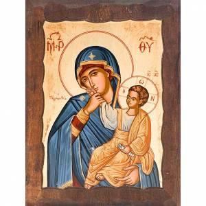 Íconos Pintados Grecia: Madre de Dios alegría y consuelo manto azul