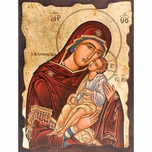 Íconos Pintados Grecia: Madre de Dios Eleousa manto rojo