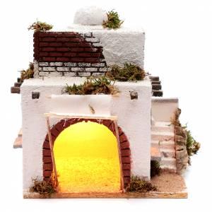 Crèche Napolitaine: Maison arabe escalier et arc crèche napolitaine 30x25,4x20 cm