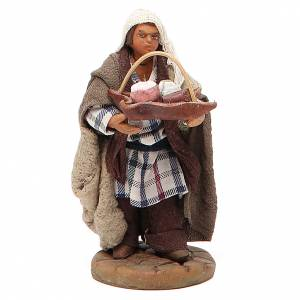 Man holding basket of cured meats, Neapolitan nativity figurine 10cm s1
