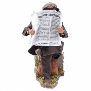 Neapolitan Nativity Scene: Man reading paper figurine for animated Neapolitan Nativity, 24cm