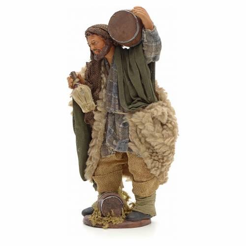 Man with cask and wicker wine bottle 14cm Neapolitan Nativity s2