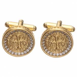 Manschettenknöpfe: Manschettenknöpfe vergoldeten Silber 800 Kreuz Hl. Benedikt 1,7cm rund