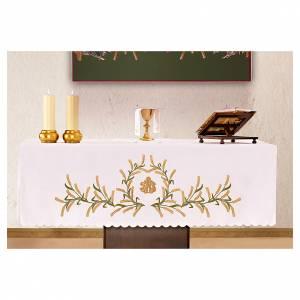 Manteles de altar: Mantel de altar 165x300 cm espigas de trigo verde y oro.