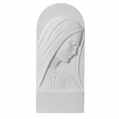 Mary's face in reconstituted carrara marble, 11 cm s1