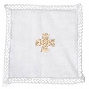 Altar linens: Mass linens with golden cross, 100% linen