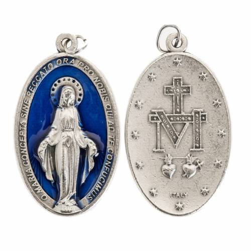 Medaglia Miracolosa ovale metallo argentato smalto blu h 4 cm s1