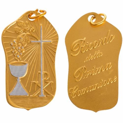 STOCK Medaglia Prima Comunione alluminio dorato 35 mm s1