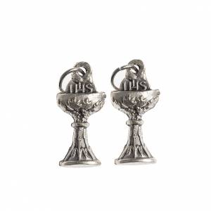 Medaglie: Medaglia Comunione Calice IHS galvanica argento ant