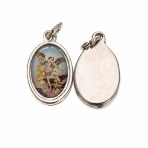 Medals: Medal in silver metal resin Saint Michael Archangel 1.5x1cm