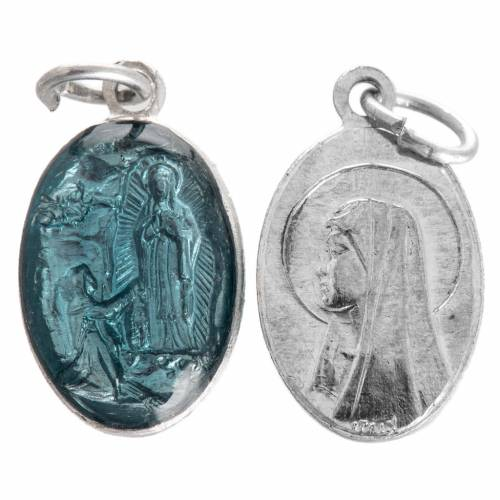 Medal of Our Lady of Lourdes, steel and light blue enamel 15mm s1