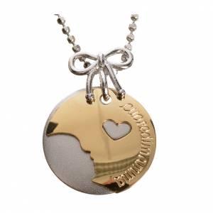 Colgantes, cruces y broches: Medalla Corazón de Mamá de Oro 750/00 Blanco y amarillo- gr 4,92