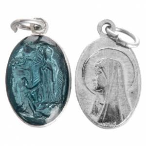 Medallas: Medalla de la Virgen de Lourdes de aluminio esmalte azul 15mm
