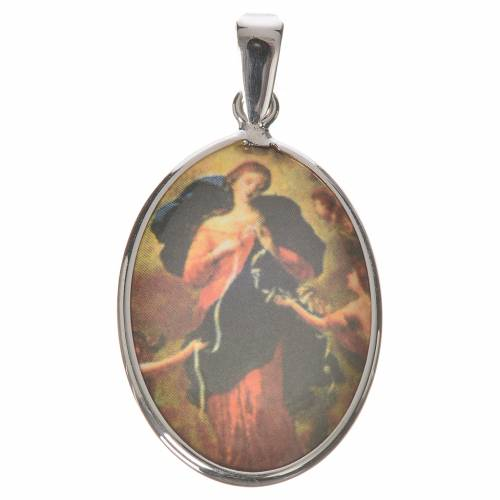 Medalla ovalada de plata, 27mm Nuestra Señora desatanudos s1