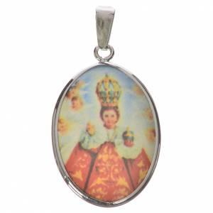 Colgantes, cruces y broches: Medalla ovalada de plata, 27mm Nuestra Señora y niño Jesús de Pr