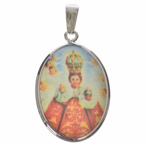 Medalla ovalada de plata, 27mm Nuestra Señora y niño Jesús de Pr s1