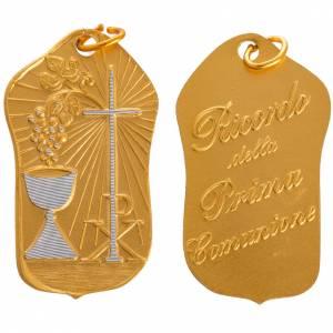 STOCK Medalla Primera Comunión aluminio dorado 36mm s1