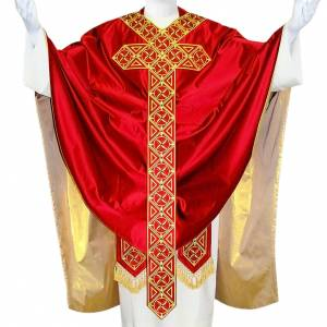 Medieval Chasuble in pure silk with embroideries on orphrey s1
