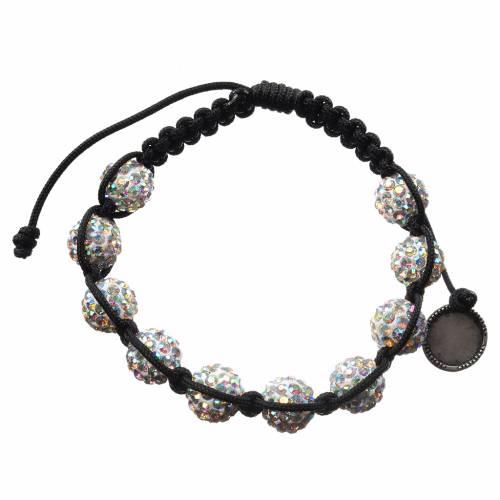 Medjugorje bracelet with cord and Swarovski grains s2