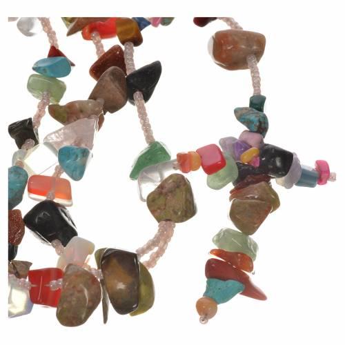 Medjugorje rosary beads in multicoloured hard stones s1