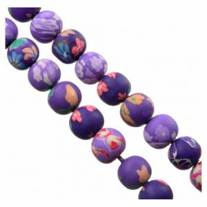 Rosaries and rosary holders: Medjugorje rosary in purple floral fimo with Medjugorje soil