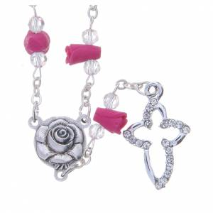 Rosaries and rosary holders: Medjugorje Rosary necklace, fuchsia with ceramic roses and grains in crystal