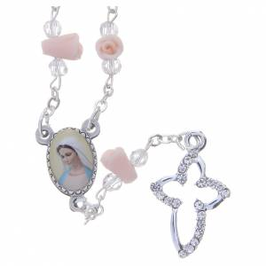 Rosaries and rosary holders: Medjugorje Rosary necklace with ceramic roses and icon of Our Lady