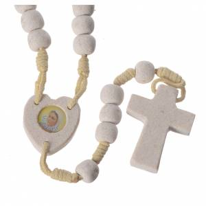 Rosaries and rosary holders: Medjugorje rosary with stone and cord, heart medal