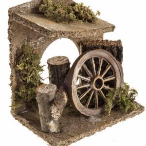 Milieu crèche Noel avec roue de chariot s2