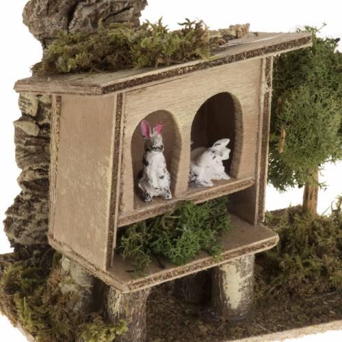Mini lapinière avec lapins crèche Noel s2