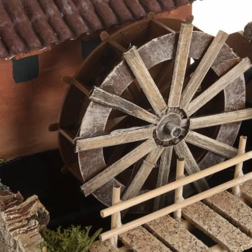 Mini moulin à eau et maison crèche Noel 24x29x29 s4