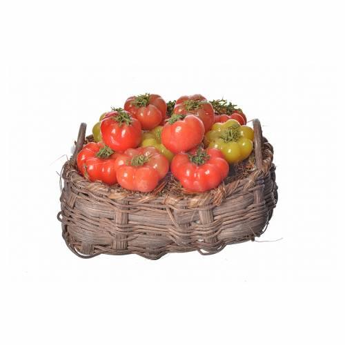 Mini panier tomates en cire pour crèche 10x7x8cm s1