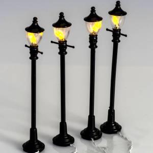 Lanternes et lumières: Mini réverbères à pile Lot de 4 pcs 10 cm