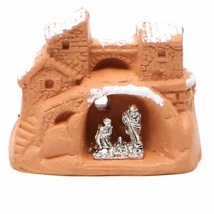 Miniature Nativity terracotta and snow 6x7x4cm s1