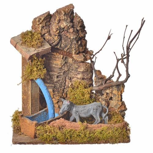 Minidécor pour crèche avec âne 10cm s1