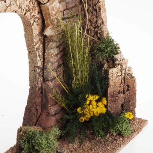 Mitad arco con ladrillos y flores para el belén s3